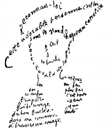Apollinaire calligramme poème du 9 février 1915 reconnais toi