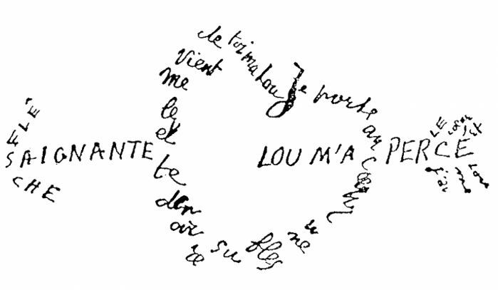 Apollinaire calligramme saignante fleche