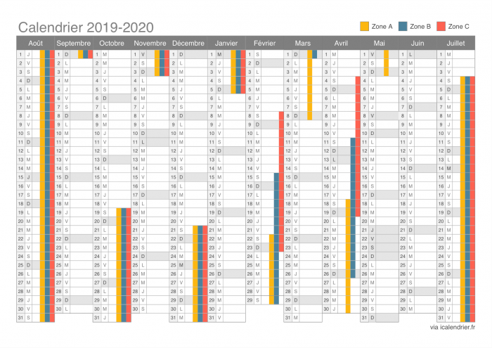 Calendrier vacances 2019 2020