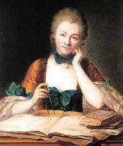 Inconnu portrait de madame du chatelet a sa table de travail detail chateau de breteuil 001